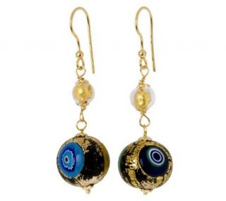 Murano Glass Gold Plated Sterling Colorful BeadDangle Earrings