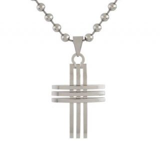 Forza Mens Stainless Steel Openwork Cross Pendant   J300657