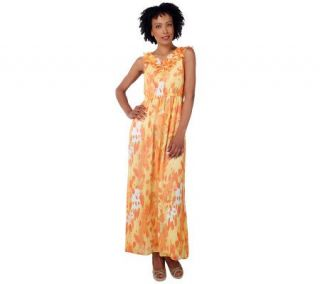 Isaac Mizrahi Live Butterfly Print Sleeveless Maxi Dress   A221364