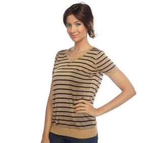 Isaac Mizrahi Live Short Sleeve Crew Neck Striped Sweater —