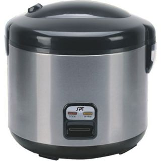 Steel Electric Rice Steamer, Cooker & Food Warmer w/ 10 Cup Teflon Pot