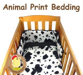 Faux Fur Animal Print Baby Cot Cot Bed Quilt and Bumper Bedding Set