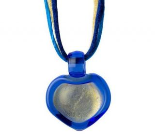 Murano Glass Free Form Heart Pendant w/ Cord &Sterling Clasp