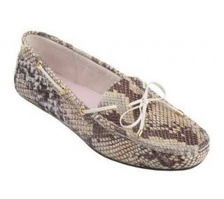 Isaac Mizrahi Live Snake Embossed Leather Moccasins   A199007