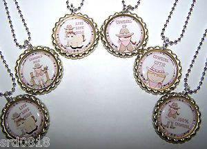 Girl Cowgirl Bottle Cap Necklaces Party Favors Horse Cowgirl Cutie