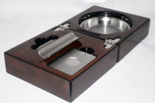 New Cuban Crafters Walnut Folding Cigar Ashtray Set with Cutter Punch