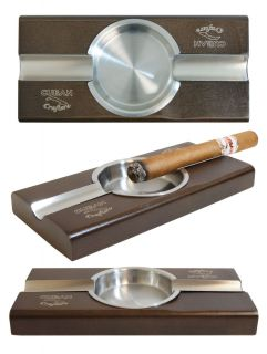 CUBAN CRAFTERS CIGAR ASHTRAY FOR 2 CIGARS WOOD STAINLESS STEEL BRAND