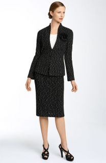 St. John Collection Sequin Tank with Speckled Tweed Jacket & Skirt