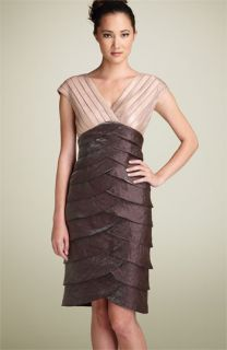 Adrianna Papell Shutter Pleat Satin Dress