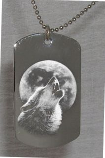 Howling Wolf Moon Custom Engraved Dog Tag Necklace