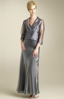 Alex Evenings Shimmer Organza Gown & Illusion Jacket