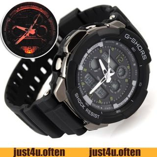 Cool Black Rubber Band Mens Young Style Wristwatch Sport Watch New