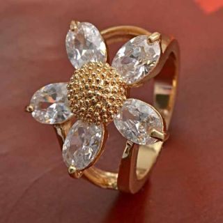 Amazing 9K Yellow Gold Filled CZ Flower Ring Size 6 5 B330