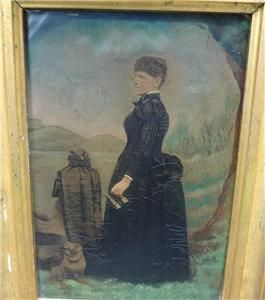 RARE Important Painted Mourning Tintype Named Woman w Pug Dog No
