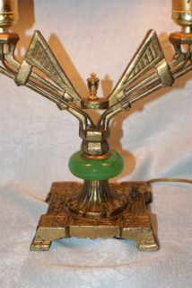 VINTAGE RARE ART DECO TABLE LAMP TWIN SOCKETS JADITE CAST BRASS