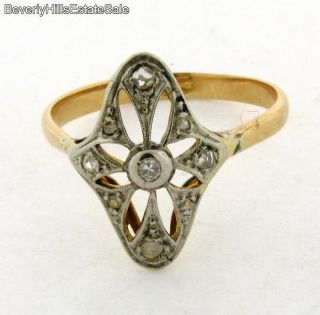 Antique Art Deco 18K White Yellow Gold Diamonds Ring