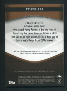 2011 Topps Triple Threads David Ortiz Unity 14/27 ~ Game Used Jersey