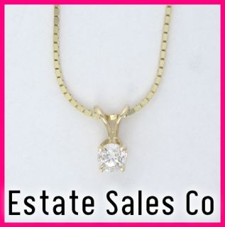 14k Yellow Gold Round Diamond Solitaire Pendant & Necklace Set .33ct