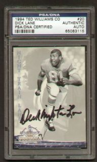 Dick Night Train Lane Signed Autograph Auto 1994 Ted Williams Card PSA