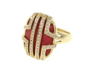Authentic Di Modolo Solid 18K Yellow Gold Diamonds Red Coral Estate