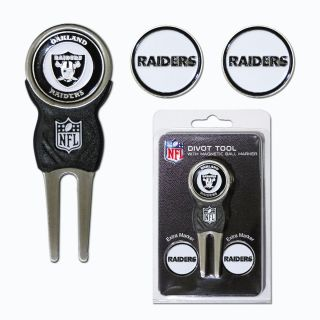 NFL Oakland Raiders Hat Clip Golf Divot Tool and 5 Ball Markers