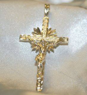 14k Yellow Gold Diamond Cut Crucifix Cross Pendant