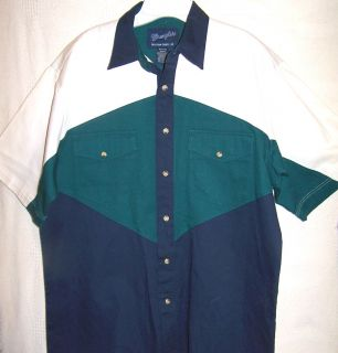 Cowboy Western Short Sleeve Blue Green White Heavy Cotton Shirt M MD