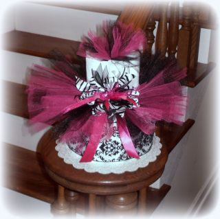 Zebra Tutu Diaper Cake Baby Shower Centerpiece Pink and Black Gift
