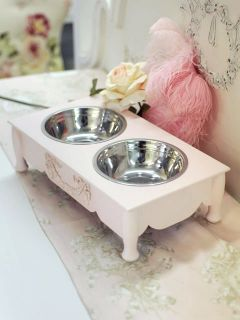 Shabby Cottage Chic 4 Raised Pink Pet Dog Cat Feeder