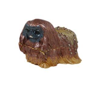 Pekingese Trinket Jewelry Box Dog Brown Crystals Hinged