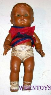1956 Sun Rubber Diaper Baby Doll Squeak Toy with Vintage Dress