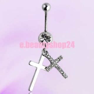 Double Cross Dangle Surgical Steel Belly Button Navel Ring Body
