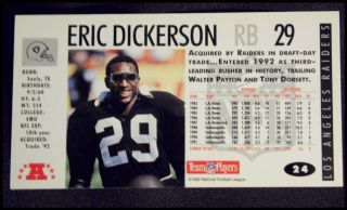 Eric Dickerson Raiders Autographed NFL Game Day Card