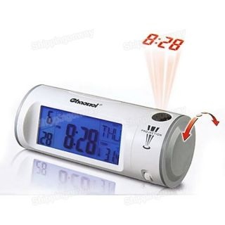White LCD Digital Voice Control Laser Projection Clock Alarm