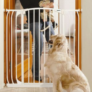 Auto Close Adjustable White Indoor Dog Pet Baby Safety Gate