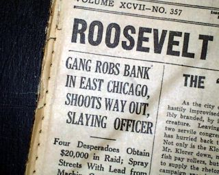 John Dillinger East Chicago Bank Robbery Shootout Babe Ruth 1934 Old