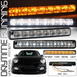 FORD DRL DRIVING FOG LIGHTS LAMPS WHITE W/ AMBER TURN SIGNAL LIGHT 6