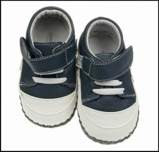 Boys Toddler Leather Soft Sole Baby Shoes Navy White Real Leather