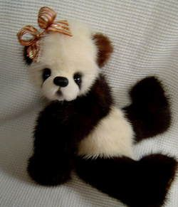 ARTIST ORIGINAL MINI MINK FUR TEDDY BEAR BY DOTTY DUNN OOAK