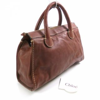 Chloe Leather Edith Satchel Tote Bag Purse Brown