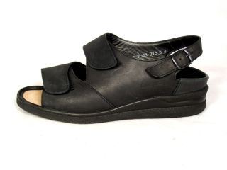 Womens Sz 6 M Medium Greenway by Durea Black Leather Ankle Strap