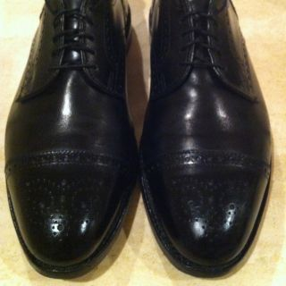 Allen Edmonds Sanford Wing Tip Oxfords Black Men Shoe 10 D Excellent