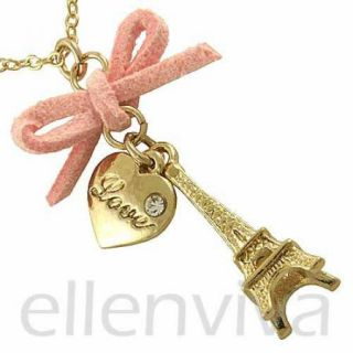 Paris Eiffel Tower Pink Bow Heart Pendant Necklace Jewelry Gold Tone