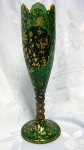Antique Moser Bohemian Vase Green Glass Porcelain Hand Painted Cameo