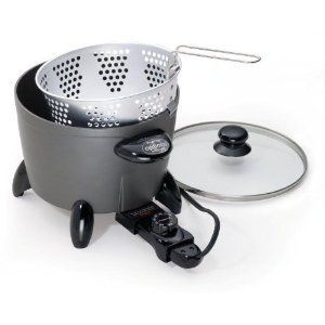 Presto Electric Deep Fryer   1300 Watt Cooker Steamer, Non Stick, Cast