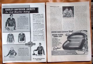 LG026 Set of 3 1953 Harley Davidson Jackets and Accessories Ads