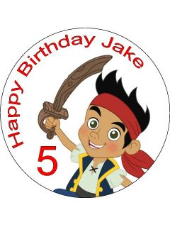 Jake The Neverland Pirates Edible Icing Cake Topper 7 5 Circle