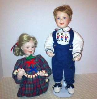 Ashton Drake Galleries Christmas Porcelain Dolls Patrick with Stand