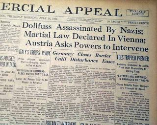 John Dillinger Dollfuss Assassinations 1934 Newspaper