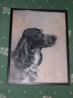 Antique English Springer Spaniel Dog Oil Painting on Canvas 1932 by F